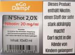 N´Shot 2,0% (10 x 10 ml Nikotin Shots mit 20 mg/ml Nikotin)